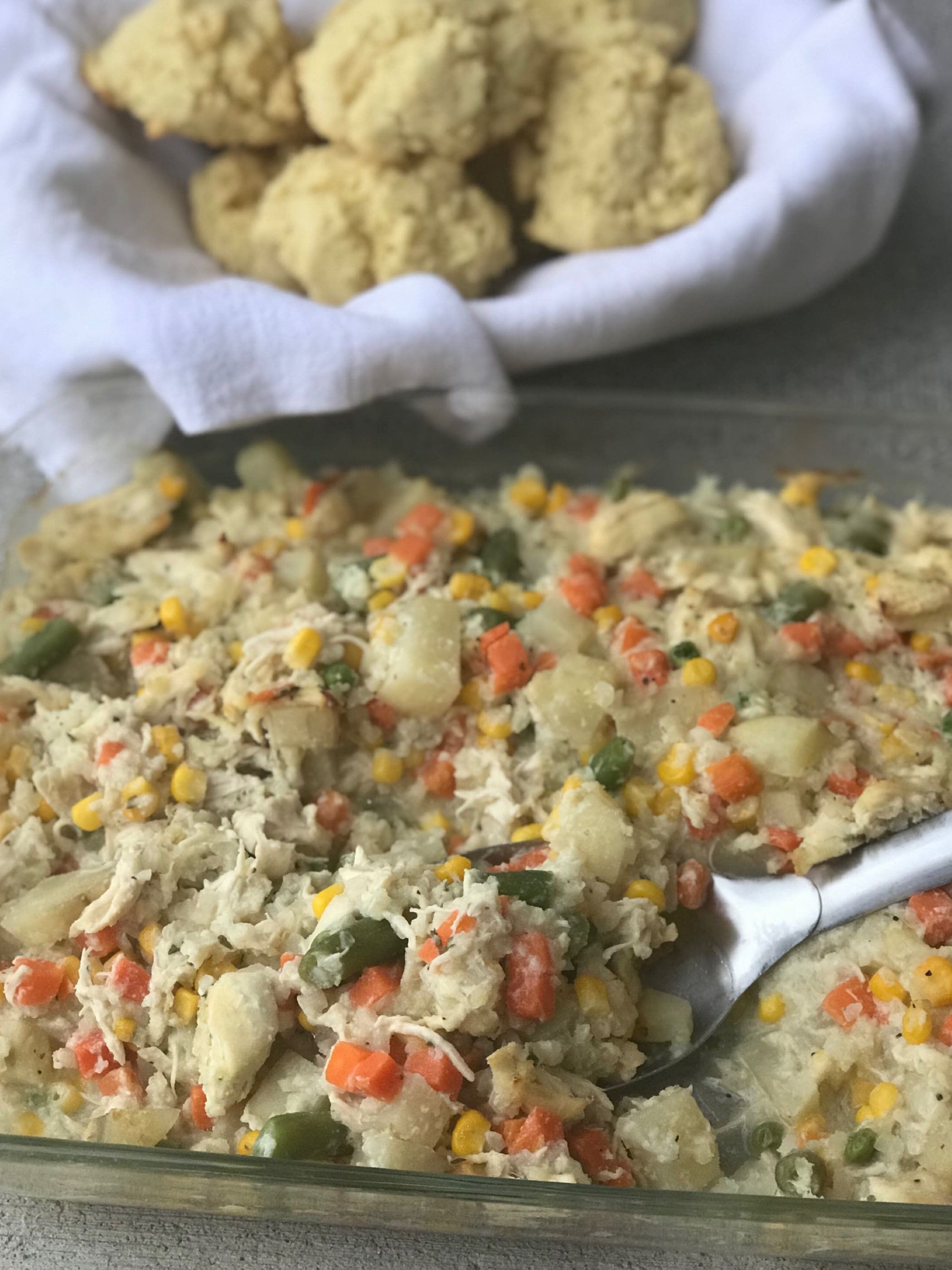 Easy Chicken Pot Pie & Biscuits